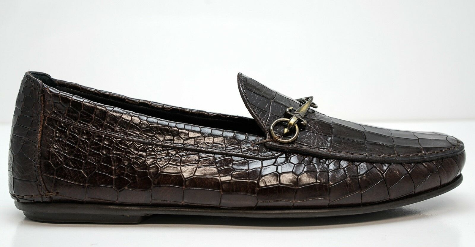 New in Box Cesare Paciotti Men's Brown Cocco Croc Croc Croc Print Leather Moccasin 49005 afb2ca