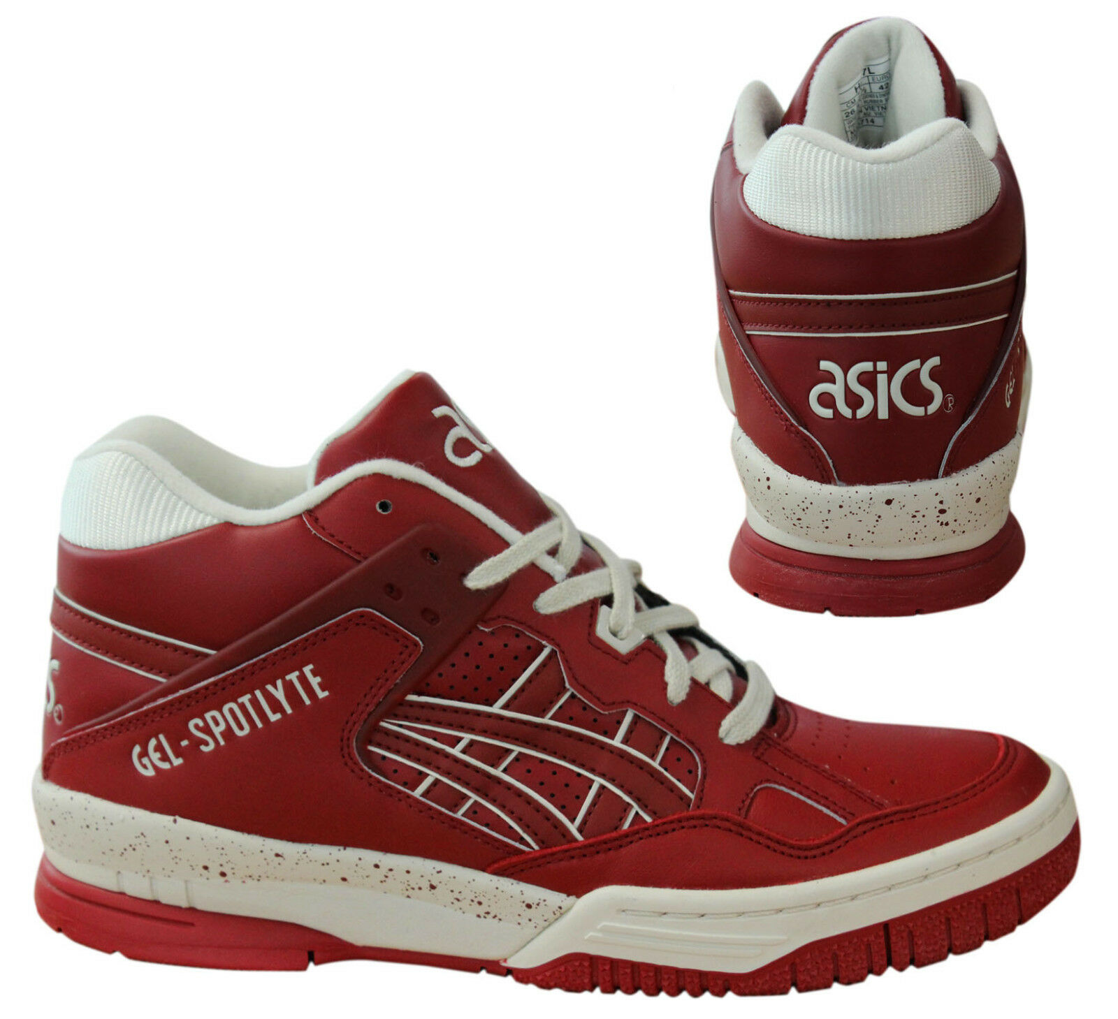 Asics Gel-Spotlyte Mens Hi Top Trainers Lace Up shoes Burgundy H447L 2525 M3
