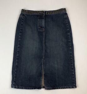 Womens-J-CREW-Denim-Straight-Pencil-Skirt-w-Front-Slit-amp-Brass-Studs-Sz-4