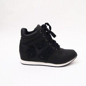 Scarpe Donna Sneakers Sport Fashion Borchie Strass Lacci Zeppa Interna EXX8916