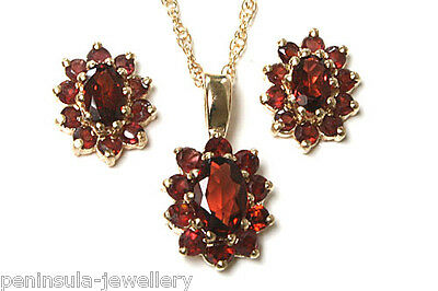 9ct Gold Garnet Pendant necklace and Earring Set Gift Boxed Made in UK