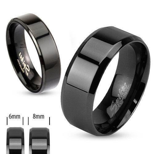 Ring Edelstahl 6 oder 8 mm breit Schwarz Black PVD schräg kantig Rand Kante