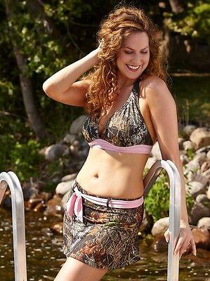 Wilderness Dreams Mossy Oak Break Up Camo Swim Skirt, Removable Pink Belt, S-2XL