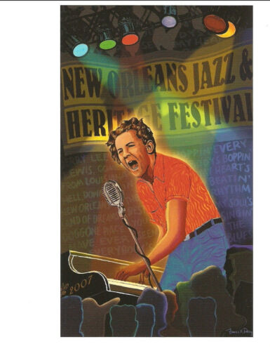 2007 Jerry Lee Lewis New Orleans Jazz Festival Poster Post Card Postcard .
