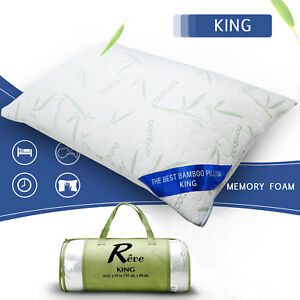Bamboo Memory Foam Bed Pillow Queen & King Size Hypoallergenic with Carry Bag