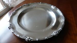 Christofle-France-Beautiful-antique-Silverplate-round-dish-plate-tray-XIXth-A