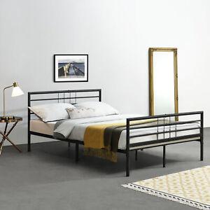 Metallbett mit Matratze 140x200 Weiß Bettgestell Design Bett Schlafzimmer Metall