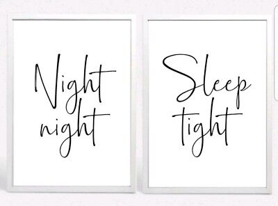 Night Sleep Tight Set 2 Typography Prints Poster Unframed Home Quote Bedroom Lov