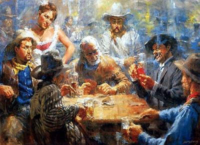 Andy Thomas Draw Poker Western Art Print 16 x 11.5