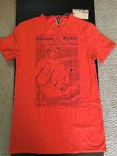 John Galliano Men's Orange Go-Go Galliano Newsprint TShirt M