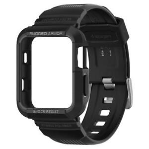 pretty nice e228b f8263 Details about Spigen Rugged Armor Pro Apple Watch 3 2 1 Protective Case  With Band For 38 42mm