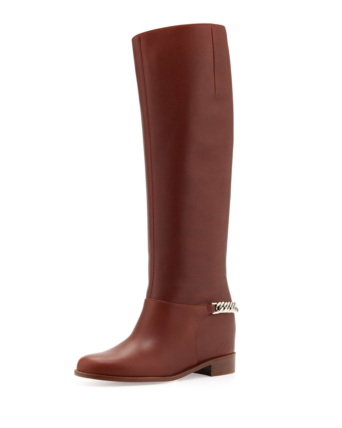100% AUTH NEW WOMEN LOUBOUTIN CATE FLAT CHAIN BOOT BROWN KNEE BOOTS US 7