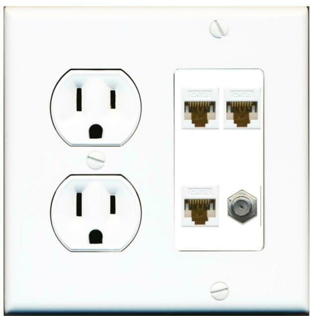 RiteAV 15 Amp Power Outlet 1 Port Coax 2 Port Cat6 Ethernet Ethernet White Decorative Wall Plate