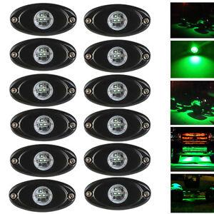 12x-CREE-9W-2-034-LED-Rock-Lamp-Green-ATV-4x4-Off-Road-Truck-Trail-Fender-Lighting