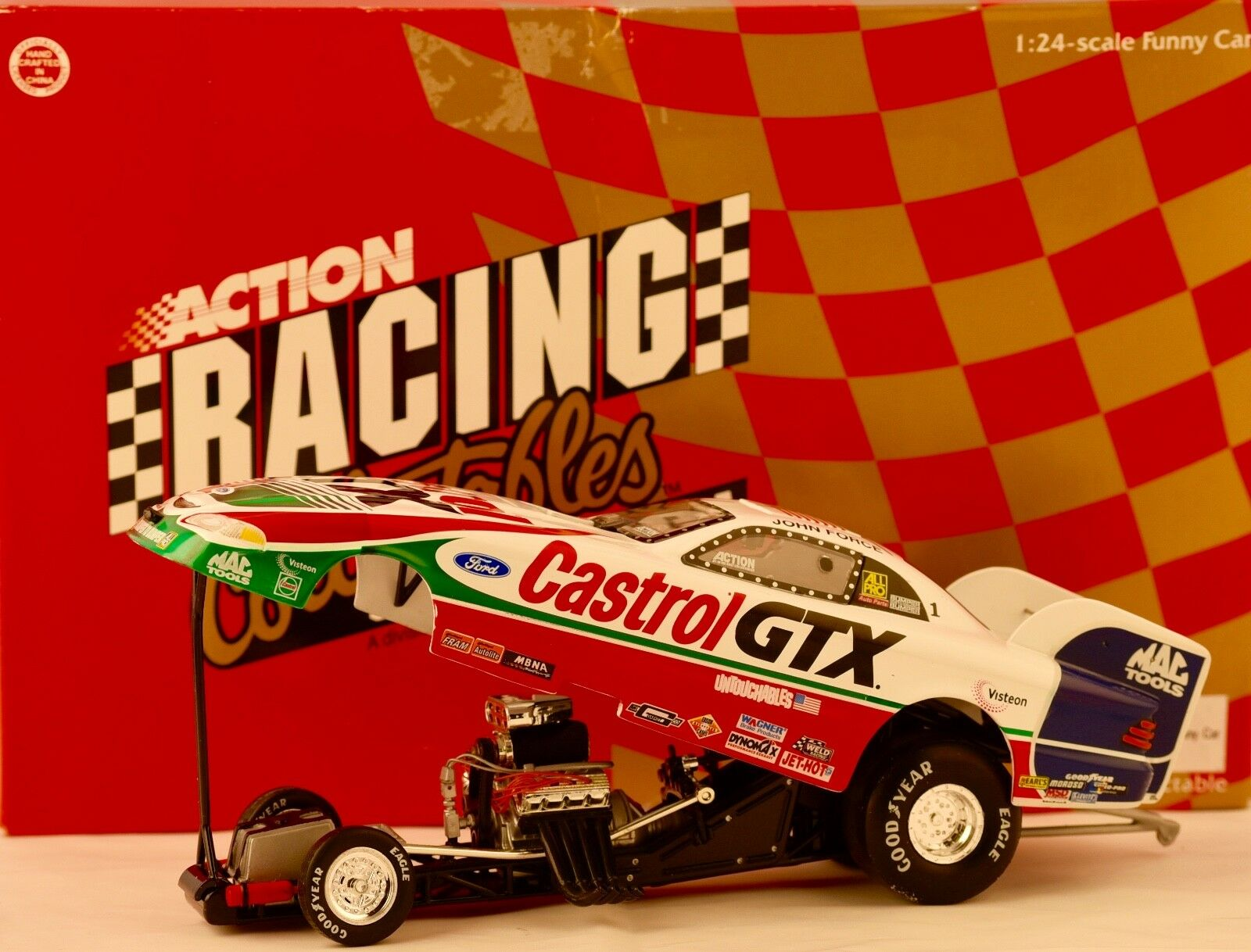 1998 Action NHRA John Force Signed - Castrol - Mustang Funny Car 1 24 Scale Rare