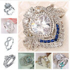 Women Large Jewelry 925 Sterling Silver White Sapphire Birthstone Wedding Ring