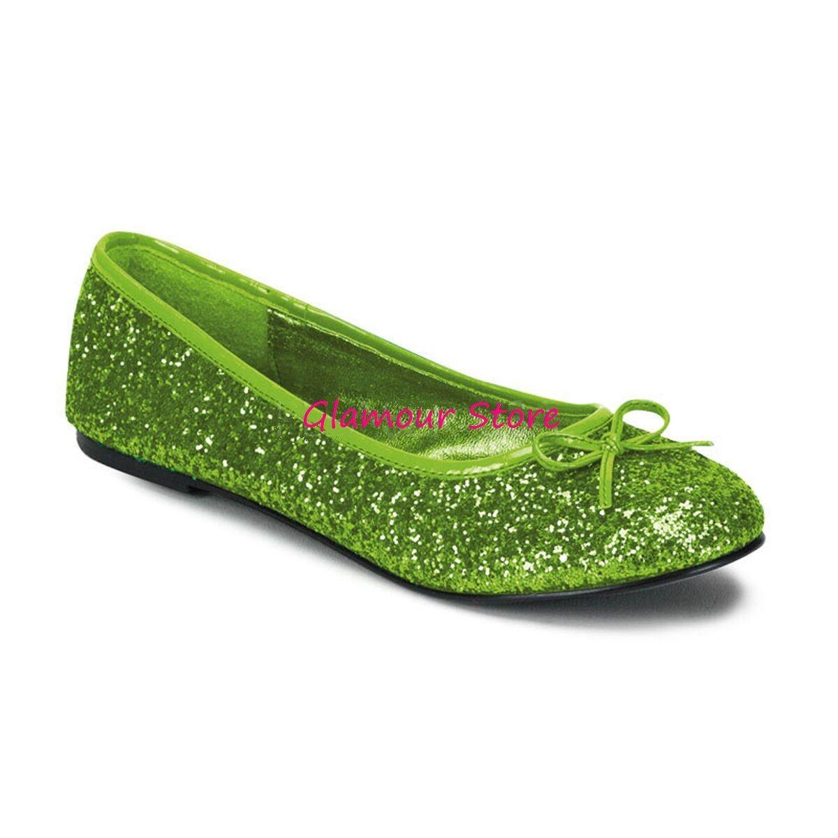 Sexy BALLERINE GLITTER tacco flat dal 35 al 42 verde LIME fiocco scarpe GLAMOUR