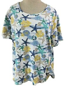 Kim-Rogers-Curvy-size-2X-knit-top-short-sleeve-blue-yellow-nautical-starfish