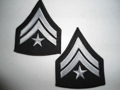 BLACK CORPORAL CHEVRONS WITH STAR   1 PAIR