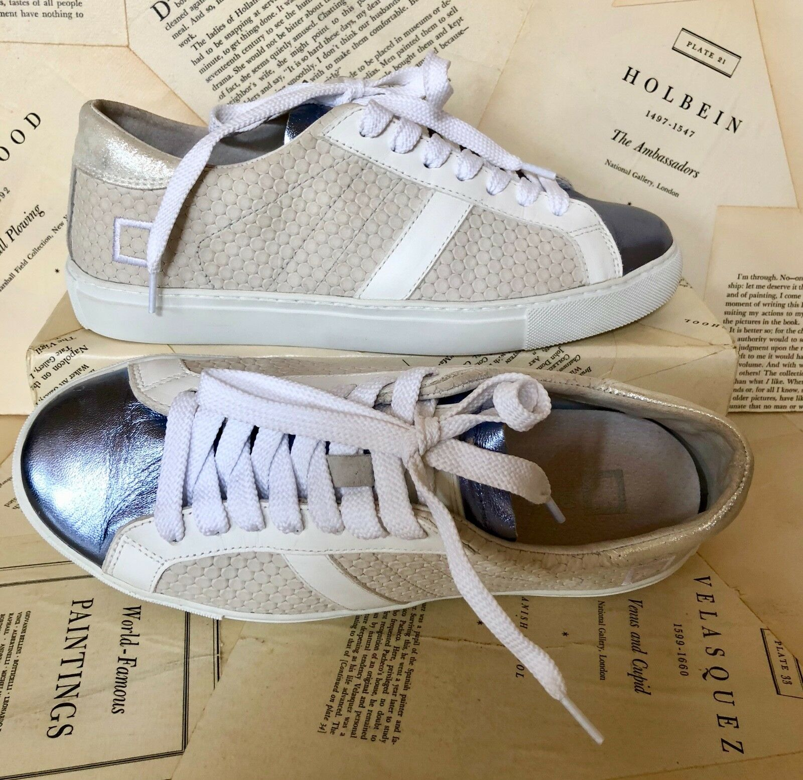 NEW DATE white tan tan tan bluee Suede Metallic Lace Up Sneakers 39  8.5-9 4dacdf