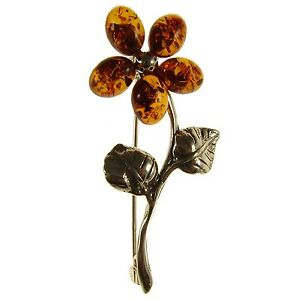 BALTIC-AMBER-STERLING-SILVER-925-LADIES-FLOWER-BROOCH-PIN-JEWELLERY-JEWELRY-GIFT