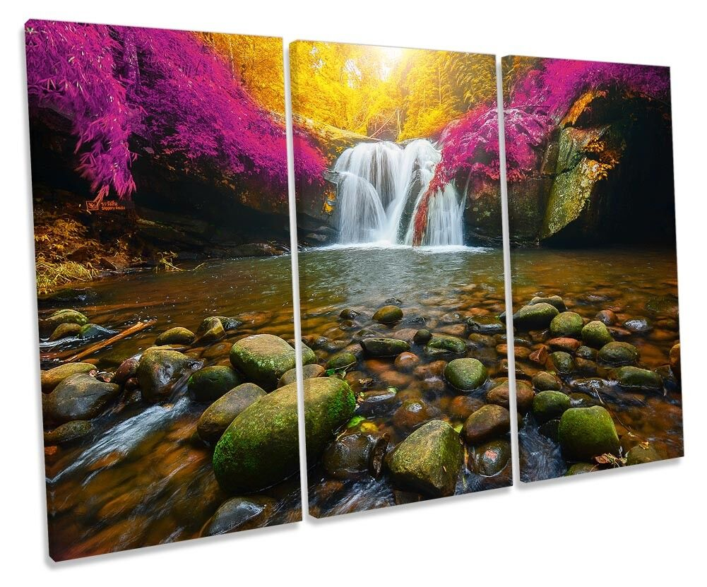 Waterfall Woodland Landscape Picture TREBLE CANVAS WALL WALL WALL ART Print 05df5f