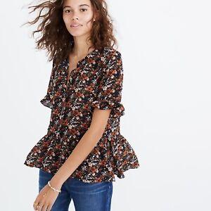 Madewell-Silk-Studio-Ruffle-Hem-Top-in-Prairie-Blossoms-Women-039-s-Shirt-92-MSRP