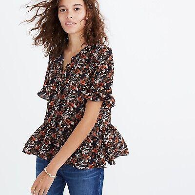 Madewell Silk Studio Ruffle Hem Top in Prairie Blossoms Women's Shirt - $92 MSRP