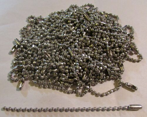 100 NICKEL PLATED STEEL NPS 4.5 Inch Faceted Ball Chains w//Connector 3 mm USA