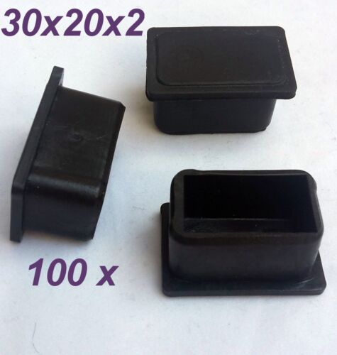 100 x 30x20x2 mm fußkappen tube bouchon extrémités NOIR BOUCHONS NEUF