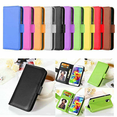 For Samsung Galaxy Plain Flat Leather Flip Stand Wallet Case Card Photo Cover