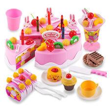 Birthday Cake Fruit Tea Set Childrens Kitchenware Girl DIY Toy Gift Box 75Pcs