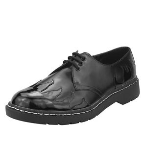T-U-K-Men-039-s-Black-Leather-With-Patent-Flames-3-Eye-Laced-Gibson-Oxford-Shoes