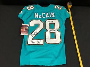 a95d66266 28 BOBBY MCCAIN MIAMI DOLPHINS SIGNED GAME USED AQUA JERSEY JSA ...