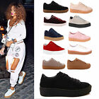 LADIES WOMENS CREEPER TRAINERS LACE UP PLATFORM FLATFORM FASION SHOES SIZE