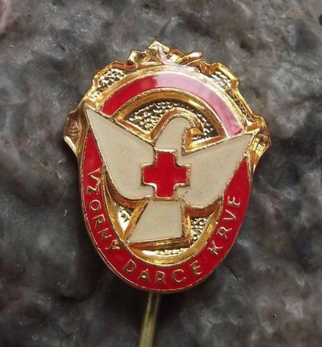 Antique Excellent Blood Donor Award White Dove Red Cross Souvenier Pin Badge