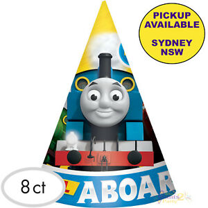 THOMAS-THE-TANK-ENGINE-PARTY-SUPPLIES-8pk-CONE-HATS-BIRTHDAY-FAVOURS