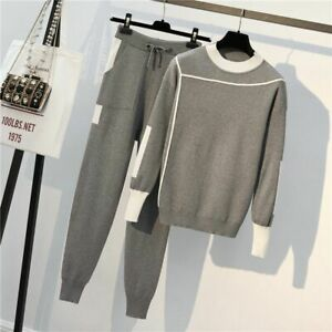 Casual-Knit-Two-Piece-Sweater-Suits-Woman-Tracksuits-Drawstrings-Elastic-Pants