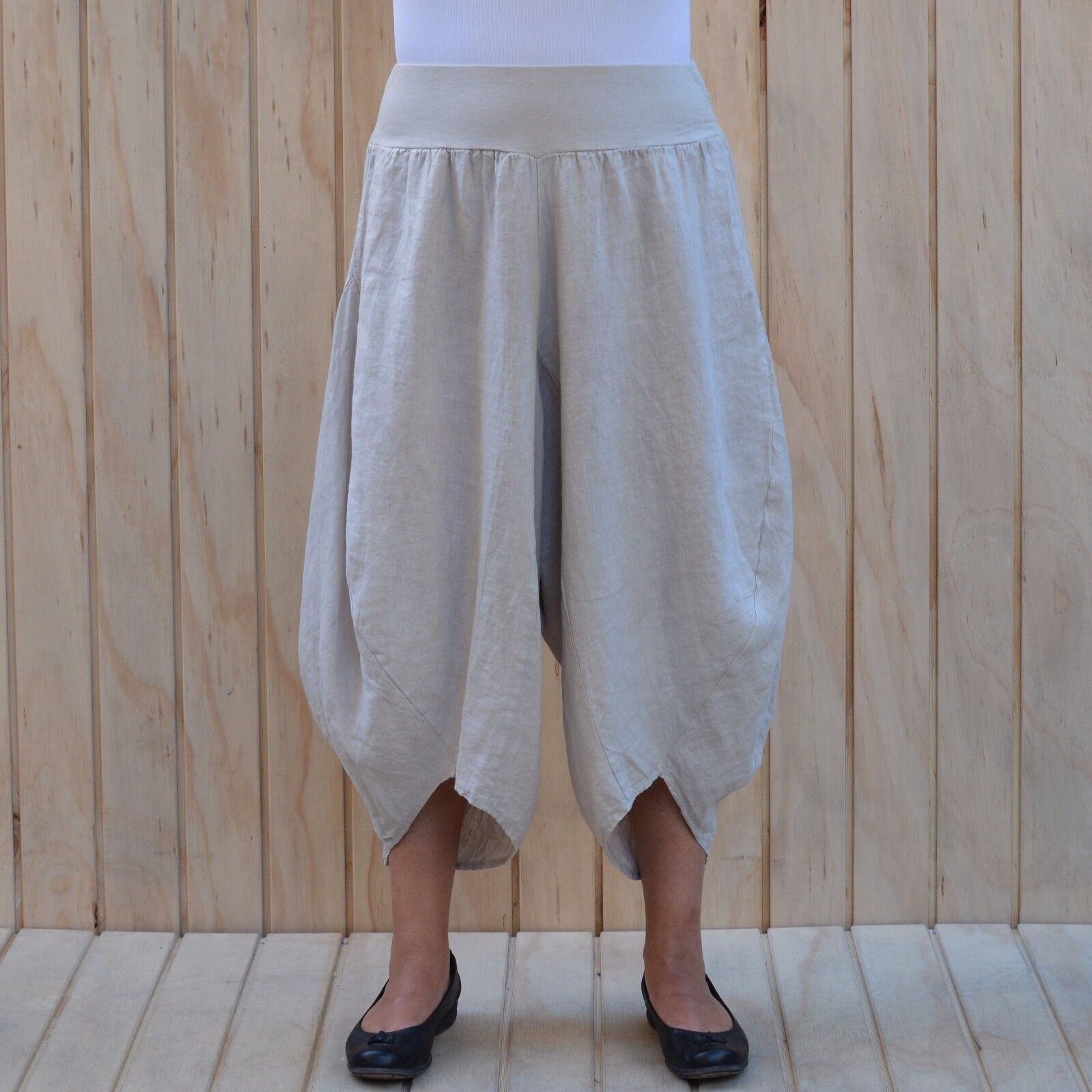 Ladies Lagenlook Tulip Harem Trousers Linen Size 16 18 20 22 24 26 28 30 32 9470