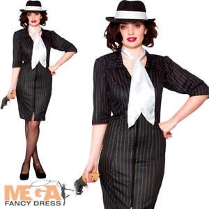 39c8adaa6974 Men's Mobster Costume. Image is loading Gangster-Gal-Ladies-Fancy-Dress -Mafia-Moll-1920s-