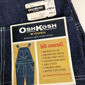 NOS-VTG-Osh-Kosh-Vestbak-USA-Union-Made-Dark-Wash-Denim-Bib-Overalls-42x31-Tags