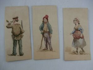 LOT of 3 Antique 1900s Watercolor Sketch Paintings, Unsigned, Woman and Men