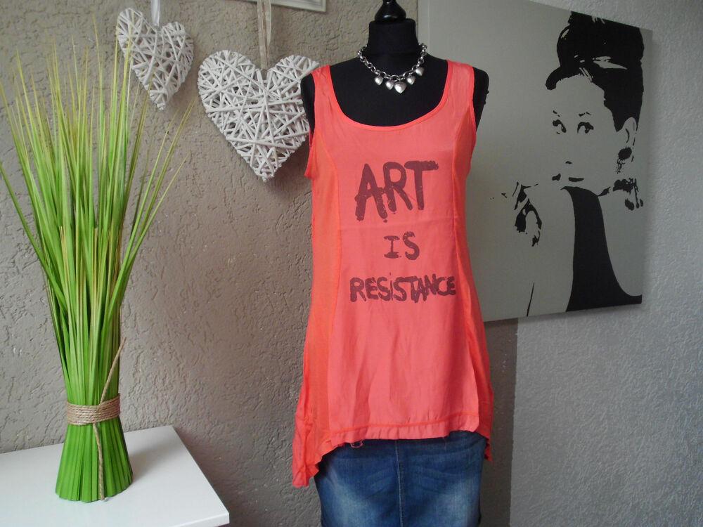 *** Tendance Coin Porteur Shirt Orange Taille S M L 38 40 42 *** Neuf