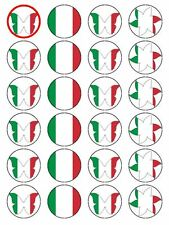 X24 ITALIAN / ITALY NATIONAL FLAG CUP CAKE TOPPER DECORATIONS ON RICE PAPER