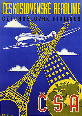 CSA CZECHOSLOVAK AIRLINES Vintage Travel/Advertising Poster   A1,A2,A3,A4 Sizes