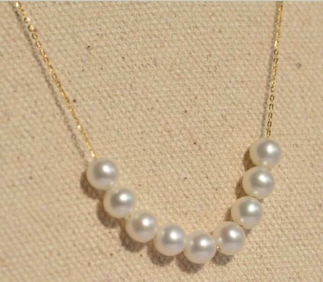 Amazing 5.5-6mm nature akoya white round pearl pendant 18k yellow gold 18inch