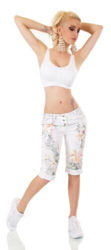 ITALY Damen Capri Jeans Bermuda Hose Chino Tropical Blumen Animal Print S M L XL