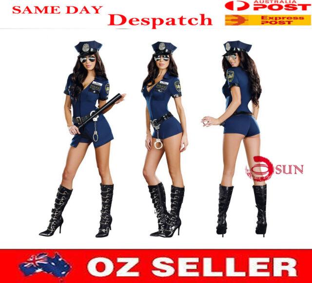 Women Sexy Lingerie Navy Police Policeman Costume Fancy Dress Up Halloween 10-14