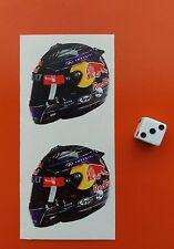 X2 casco F1 Pegatinas Sebastian Vettel Red Bull F1 50mm X 50mm