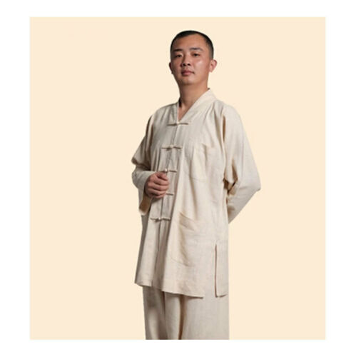 High Quality Monk Clothes Buddhism Linen Robes Jacket Men/'s Frock Coat